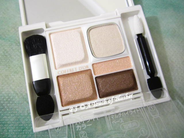 Kanebo Coffret d'Or Full Smile Eyes 01 Apricot Beige Late Summer Early Fall 2014 Makeup 1